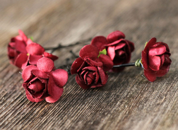 Bridal Wedding Hair Accessories in Burgundy Red Flower Hair Pins